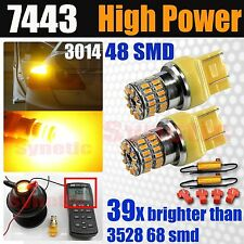 7443/7440 600LM 3000K Amber Yellow LED Front Turn Signal Light Bulbs w/Resistors
