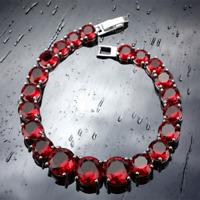 "Red Garnet Round Stones Bracelet 925 Sterling Silver Link Chain 7"""