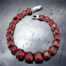 """Red Crystals Garnet Round Bracelet 925 Sterling Silver Chain 7"""" Womens Jewelry"""