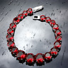Red Garnet Round Stones Bracelet 925 Sterling Silver Link Chain 7""