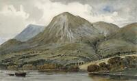 ON DERWENTWATER CUMBRIA LAKE DISTRICT Small Watercolour Painting 19TH CENTURY