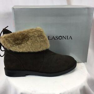 LASONIA B272 Women's Round Toe Winter Snow Booties Brown