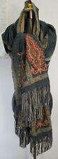 BAJRA SHAWL WRAP Merino Wool Multicolor Paisley Leather Fringe HandMade In NEPAL