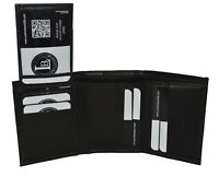 WALLET TRIFOLD WITH PULLOUT ID VERY RARE NEW BLACK GENUINE LEATHER