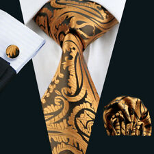 New Gold Yellow Men Tie Set With Matching Handkerchief Cufflinks Men Necktie Set