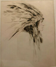 J Knowles Hare Original Dry Etching Signed Native American Indian Woman 18 x 20