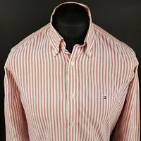 Tommy Hilfiger Mens Vintage THICK Oxford Shirt MEDIUM Long Sleeve Pink  Striped