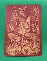 Playing Cards 1 Single Card Old Antique LACQUER Wide BIRDS FLOWERS Uncatalogued