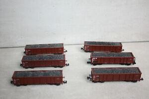 Roco N O-Wagen mit Kohleladung 6tlg Eaos 4-achsig