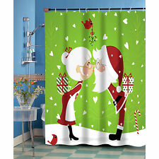 Kissing Mr. & Mrs. Santa Claus Christmas Fabric Shower Curtain