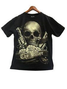 Vintage Tshirt Rock Chang Mens T-Shirt Size L Skulls Guns Biker Double Sided