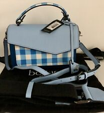 Botkier Cobble Hill Top Handle Convertible Colorblock CrossBody Blue Gingham NWT
