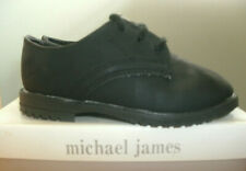 Boys sz 5.5W black dress shoes Michael James faux leather lace up good cond