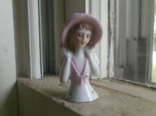 """1920s Antique 2""""Tall Porcelain Pin Cushion Half Doll With Pink Hat"""