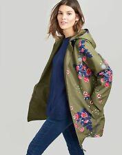 Joules Womens Dockland Reversible Waterproof Raincoat - KHAKI FLORAL Size 18