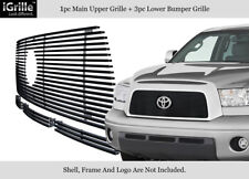 Fits 2007-2009 Toyota Tundra Stainless Steel Black Billet Grille Combo