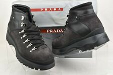 PRADA 4T3165 GRAY SUEDE LEATHER PLATFORM SHEARLING HIKING ANKLE BOOTS 7 US 8