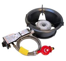 High Pressure 55MJ LPG Gas Wok Burner Piezo Ignition Hose Regulator BBQ Cooking