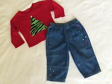 Disney Girls Size 12 Months Denim Jeans Long Sleeve Shirt Holiday Christmas LOT