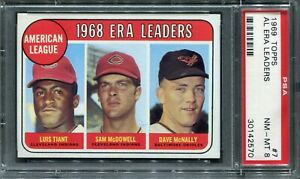 1969 Topps #7 AL ERA Ldrs. Tiant/McDowell/McNally PSA 8 NM-MT