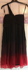 Stunning Marks & Spencer Autograph 100% silk one shoulder Black & Red Dress 12