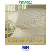 4 x Luxury Deluxe Pillows Stripe Extra Filled High Quality Super Jumbo Bounce