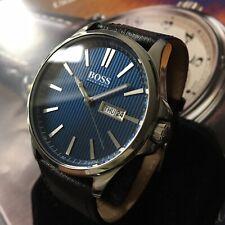 Mens Hugo Boss Designer Watch Steel Navy Blue Dial Black Leather Genuine