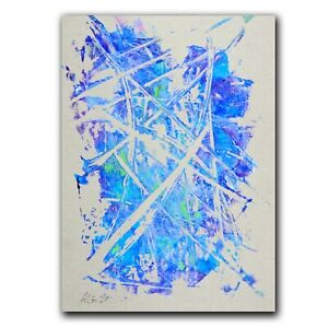 """DRAWING unique """"Abstraction in blue"""" 34cm acrylic Andreas Loeschner-Gornau"""