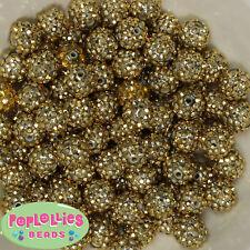 14mm Metallic Gold Rhinestone Resin Bubblegum Beads Lot 20 pc.chunky gumball