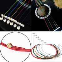 1 Set 6pcs Colorful Color Strings for Acoustic Guitar Useful Music Tool  HS