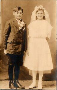 WILBER NEBRASKA TWINS BROTHER & SISTER OLD WINNOW STUDIO REAL PHOTO POSTCARD