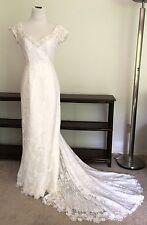 Jasmine Haute Couture Sz 8 10 Lace Beaded Wedding Dress Sleeves V Train