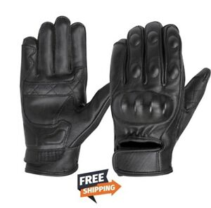 Mens Premium Leather Cruiser Protective Motorcycle Riding Racing Gloves