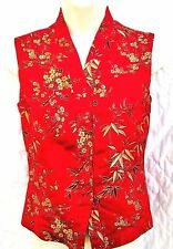 Handmade Satin RED ASIAN ORIENTAL VEST Theater COSTUME Uniform sz S