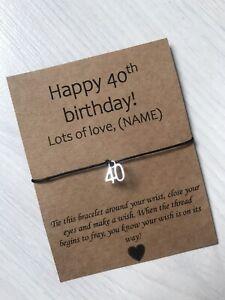 🎁 Personalised Happy 40th Birthday friendship Wish bracelet Present Gift 🎁
