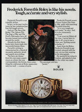 1982 FREDERICK FORSYTH - ROLEX Oyster Perpetual Day-Date Gold Watch VINTAGE AD