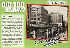 "The "" L "" Train Facts, Chicago Illinois Transit  5"" x 7"" Transportation Postcard"