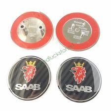2pcs Saab Carbon Fiber Front Hood Emblem 68mm Rear Trunk Logo 9-3 93 95