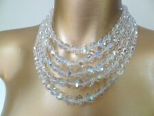 Superb Signed LAGUNA  Faceted AB Crystal Vintage 5 Multi-Strand Necklace
