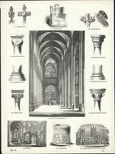 CANTERBURY CATHEDRAL WOODCUT PRINT - ARCHITECTURAL FEATURES - VINTAGE 1856