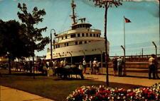 Postcard The Soo Locks Henry Ford II MacArthur Lock Lake Superior Chrome