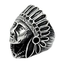 from US Gothic Rocker Biker Indian Apache Chief Head Stainless Steel Ring Size11