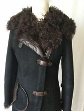 HENRY BEGUELIN Brown Shearling Long Suede Leather Coat. Extremely rare. Sz.40