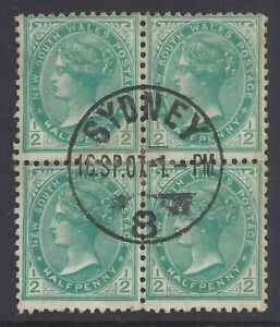 New South Wales 1907 ½d blue green, Used block 4, Crown A wmk,(BY102)