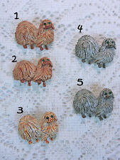 Gerry's Signed Pekingese Dog Pin / Brooch - Choose Brown or Gray