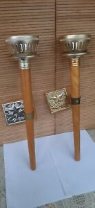 Soviet Vintage Rare Olympic Wooden Torch GAMES MOSCOW 1980 USSR(2 pieces)