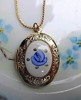 #B24 Vintage Sarah Coventry Guilloche Necklace Locket Rose Gold hand painted