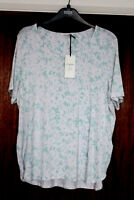M&S Classic Size 20 Stretch Viscose Mint Floral Short Sleeve Top Bnwt