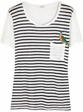 J.CREW LINEN EMBROIDERED BIRD TEE - L WHITE/NAVY NEW