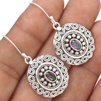 Artisan - Rainbow Moonstone 925 Sterling Silver Earrings Jewelry AE7014